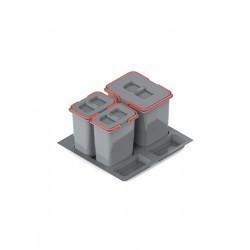 Pojemnik na odpady PRAKTIKO 60 potrójny (1x15l + 2x7l) tworzywo sztuczne srebrny