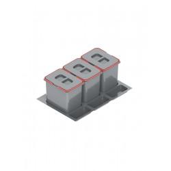 Pojemnik na odpady PRAKTIKO 80 potrójny (3x15l) tworzywo sztuczne srebrny
