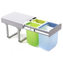 Pojemnik na odpady Ekko3 40 potrójny, 1x16l + 2x8l z prowadnicami kulkowymi pełnego wysuwu