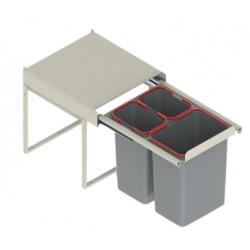 Pojemnik na odpady JC606 45-50 wysoki (414x500x435) potrójny 2x9L/1x20L tworzywo sztuczne srebrny DS