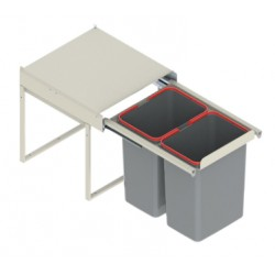 Pojemnik na odpady JC607 45-50 niski (414x500x325) podwójny 2x15L tworzywo sztuczne srebrny DS