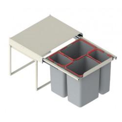 Pojemnik na odpady JC609 60 wysoki (414x500x435) poczwórny 2x9L/2x20L tworzywo sztuczne srebrny DS