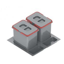 Pojemnik na odpady PRAKTIKO 60 podwójny (2x15l) tworzywo sztuczne srebrny