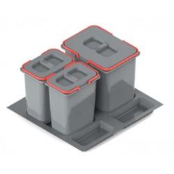 Pojemnik na odpady PRAKTIKO 60 potrójny (1x20l + 2x9l) tworzywo sztuczne srebrny