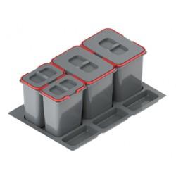Pojemnik na odpady PRAKTIKO 80 poczwórny (2x20l + 2x9l) tworzywo sztuczne srebrny