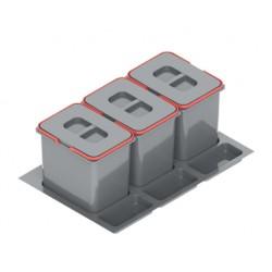 Pojemnik na odpady PRAKTIKO 80 potrójny (3x20l) tworzywo sztuczne srebrny