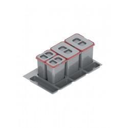 Pojemnik na odpady PRAKTIKO 90 poczwórny (2x15l+2x7l) tworzywo sztuczne srebrny