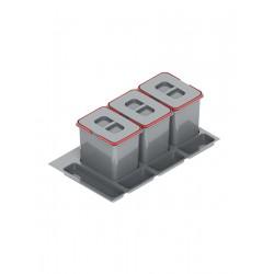 Pojemnik na odpady PRAKTIKO 90 potrójny (3x15l) tworzywo sztuczne srebrny