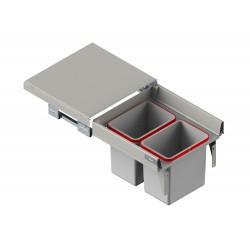 Szuflada z pojemnikami na odpady II 45 H-350 prowadnica L-500 metal lakier srebrny