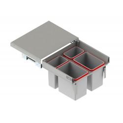 Szuflada z pojemnikami na odpady II 60 H-350 prowadnica L-450 metal lakier srebrny