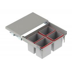 Szuflada z pojemnikami na odpady II 80 H-350 prowadnica L-450 metal lakier srebrny