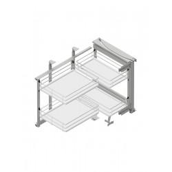 Corner Front 900 lewy metal/tworzywo chrom/biały MAXIMA EVO II